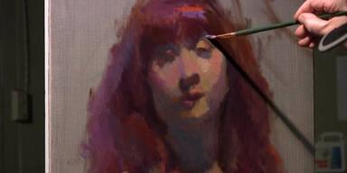 Maler porträtiert Frau
