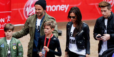 Familie Beckham jubelt Romeo bei Charity-Lauf zu