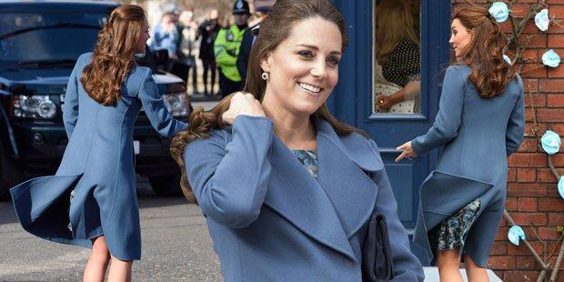 Herzogin Kate kämpft mit dem Wind