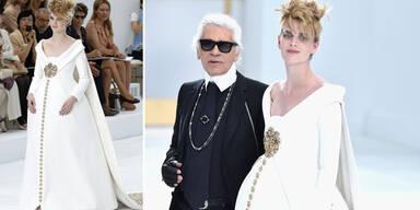 Karl Lagerfeld schickt schwangere Braut auf den Catwalk