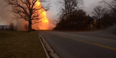 Riesige Stichflamme nach Gasexplosion