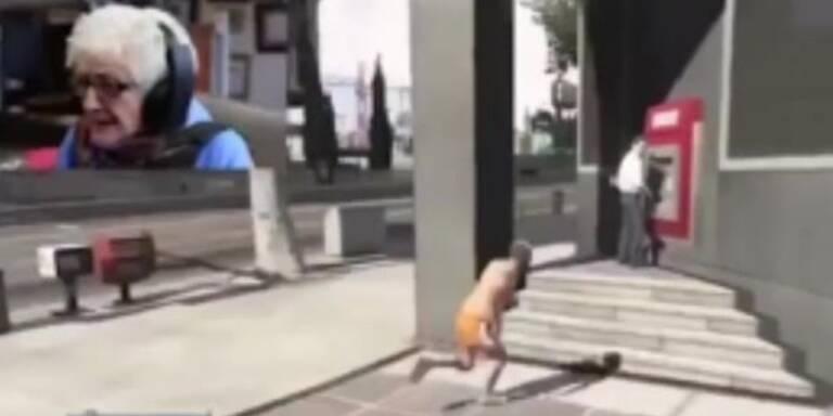 Völlig irre: Brutale Oma spielt GTA 5