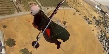 Dramatisch: Paraglider filmt eigenen Absturz