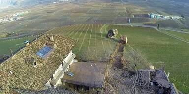 Felssturz in Tramin zermalmt Haus in Süd Tirol