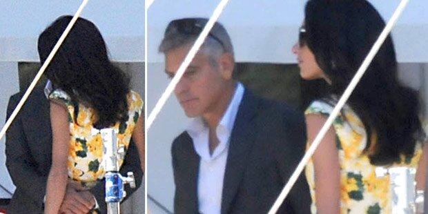 Clooney & Amal: Küsse am Set