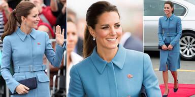 Herzogin Kate: perfekt gestylt Babyblau