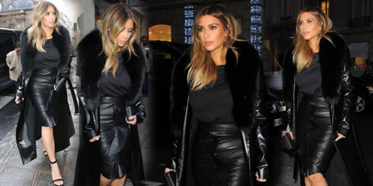 Kim Kardashian im Grufti-Pelzmantel