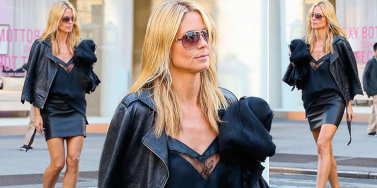 Heidi Klum: Hingucker in sexy Leder & Spitze
