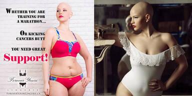 Krebskrankes Model posiert in Dessous