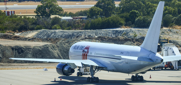 Rolling Stones Flugzeug in Perth
