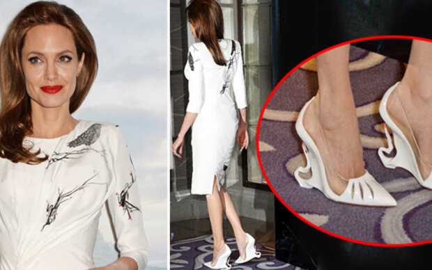 Jolie trägt Schuhe um $1.600