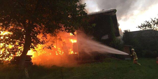 Tischlerei in Flammen