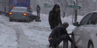 Wintereinbruch – viele waren schon mit Sommerreifen unterwegs