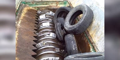 Erschreckende Maschine zerfetzt Reifen
