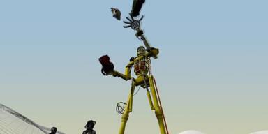 Ein Roboter der mit Autos jongliert