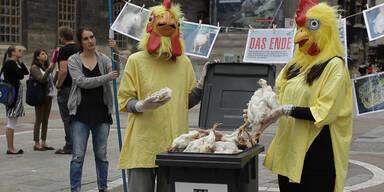 Gegen Massentierhaltung von Hühnern