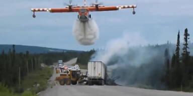 Löschflugzeug rettet Truck vor Explosion
