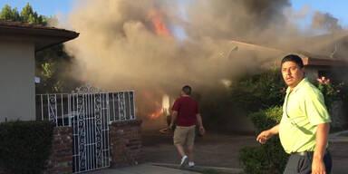 Mann aus brennendem Haus gerettet