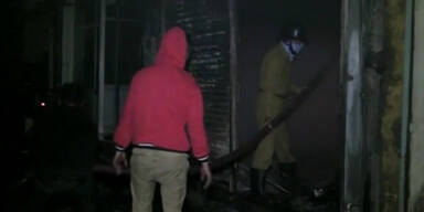 Großbrand in Strumpfwarenfabrik