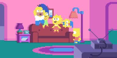 Die Simpsons im Pixel-Stil