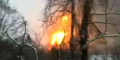 Gefährliche Explosion von Rohöl-Zug