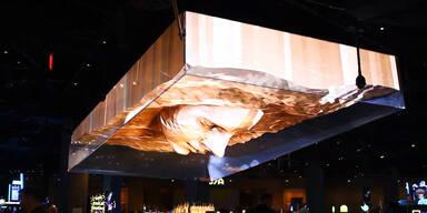 Riesiges 3D-Hologramm von Gesicht
