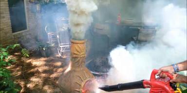 Griller wird zum Vulkan umfunktioniert
