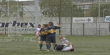 Brutalo-Szenen bei Frauen-Match