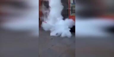 Obdachlosen mit Feuerlöscher verjagt