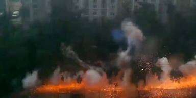 Starkstromleitung explodiert