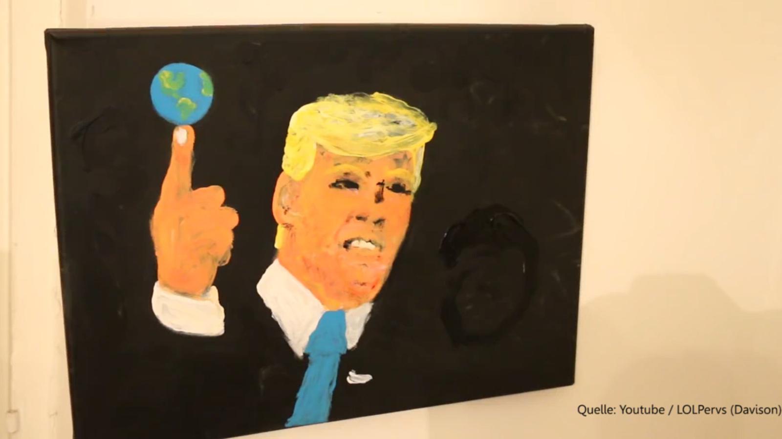 Frau malt Trump mit den Brüsten