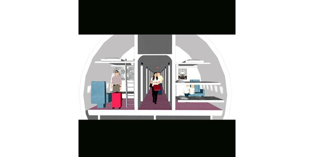 Im Jumbojet am Airport schlafen