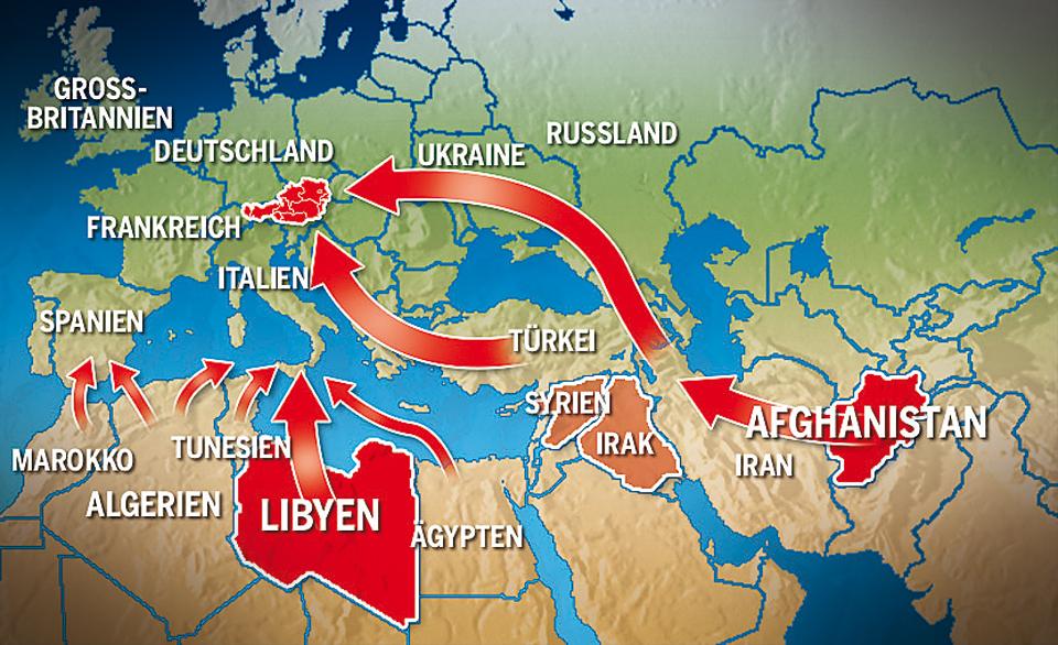 Flüchtlinge Flüchtlingsrouten