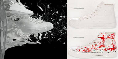 Weiß übermalte Converse kosten stolze 150 Euro!