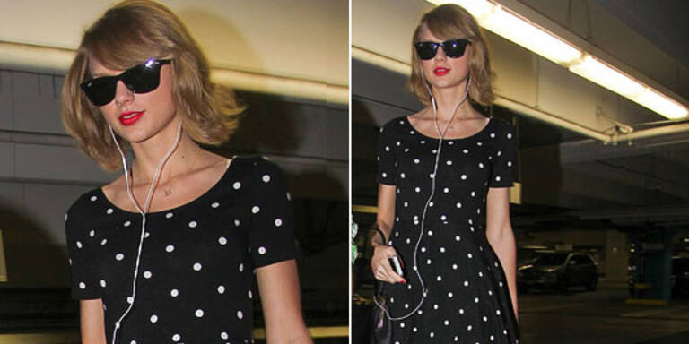 Taylor Swift: top gestylt in H&M-Pünktchenkleid