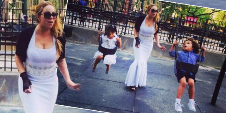 Mariah Carey in Haute Couture am Spielplatz