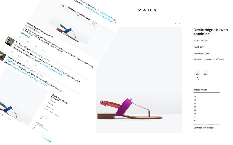 Modekette Zara entrüstet mit