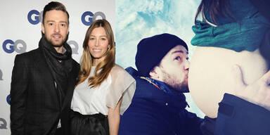 Justin Timberlake zeigt Jessica Biels Babybauch