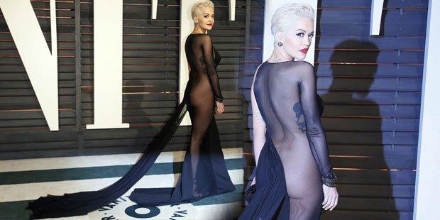 Rita Ora fast nackt auf Oscar-Party