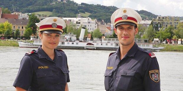 Cops retten Ruderer auf der Donau