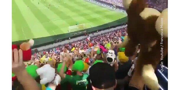 Kuscheltierwelle Im Fußballstadion