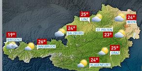 So wird das Wetter in Österreich