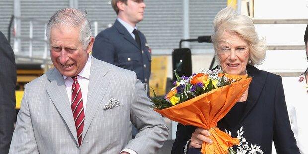 Charles und Camilla in Wien gelandet