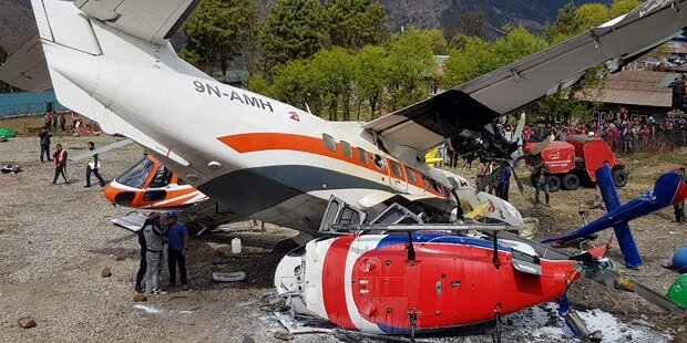 Flugzeug crasht in Heli – Drei Tote am Mount Everest