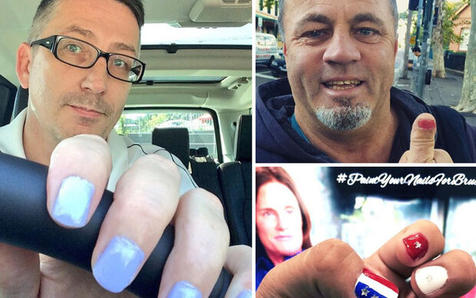 Männer lackieren Nägel für Bruce Jenner