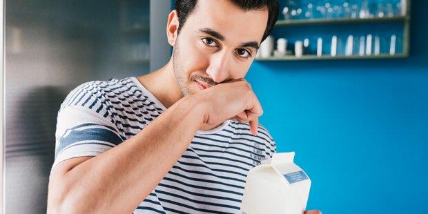 Milch nie in die Kühlschranktür stellen
