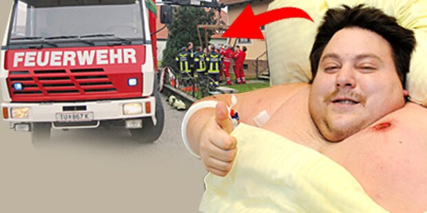260-Kilo-Mann mit Kran gerettet