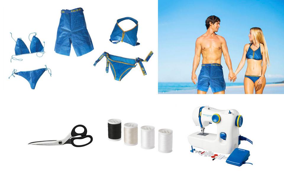 Ikea-Sack als Bikini