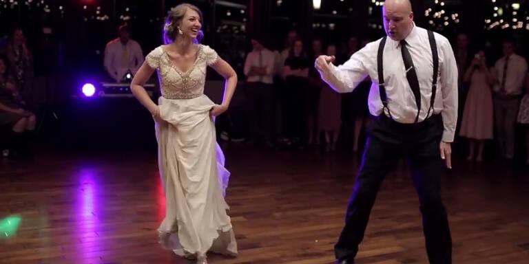 Verrückter Brautvater-Tochter-Tanz