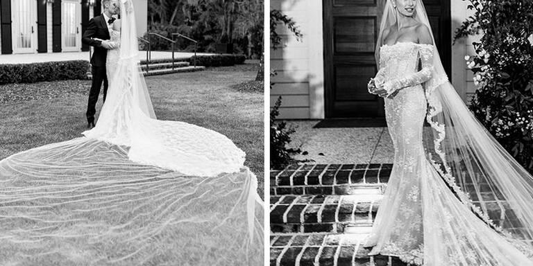 Hailey Bieber zeigt ihr Designer-Brautkleid